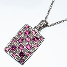 17.20 Ct Square Cut Style Shape Pink Sapphire CZ 18K White Gold Plated Pendant