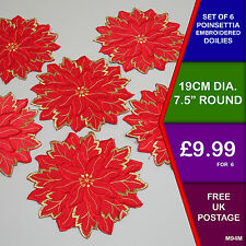 Set of 6 Christmas Poinsettia Round Embroidered Doilies Placemats Dining M94M