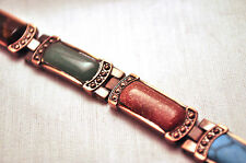 LADIES 7.5 INCH MAGNETIC THERAPY  LINK BRACELET: Copper & Southwestern Stones