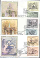 VATICAN CITY FOUNTAINS SC#573/75  FILGRANO 'SILK'  SET THREE  FIRST DAY COVERS