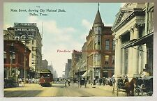 1909 Postcard Main Street Trolley Horse Buggy Bank Dallas Texas Antique Color PC