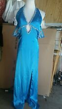 Cache dress size 2XS sexy halter full length blue w/beading very stunning formal