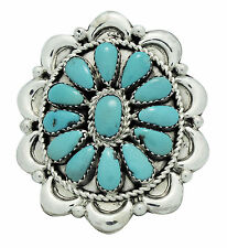 Eric Wilson, Ring, Kingman Turquoise, Cluster, Sterling Silver, Navajo Made, 8.5