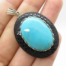 925 Sterling Silver Large Real Black Onyx Turquoise Gemstone Pendant