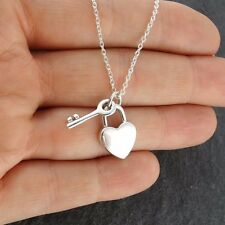 Heart Lock and Key Pendant Necklace - 925 Sterling Silver - Padlock Love Hearts