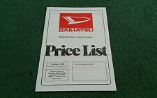 March 1985 DAIHATSU FOURTRAK CHARMANT CHARADE DOMINO 850 UK PRICE LIST BROCHURE