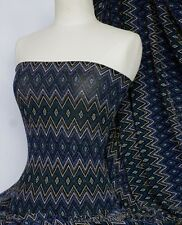 Blue abstract shimmer slinky 4 way stretch fabric Q1180 BL