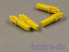 LEGO Technik - 4 x Zahnrad 8 Zähne mit Stift / Schaft gelb / x1307 NEUWARE