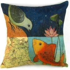 Fish Bird Flower Print Sofa Bed Home Decoration Pillow Case Cushion Cover O