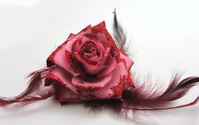 1X Rose Flower Feather Prom Wrist Corsage Hair Clip Fascinator Pin Brooch Claret
