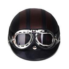Motorrad Helm Jethelm Rollerhelm mit Schutzbrille Hutkrempe Schwarz Hotsell NEU