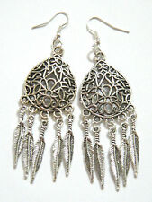 FEATHER EARRINGS Tibet Silver 10 Feathers Filagree Ear Wires Silver Plated NEW!