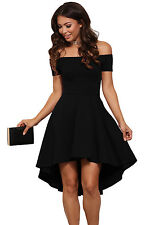 Black Hi Low Off Shoulder Skater Dress Club Party Summer Wear Size UK 8-10