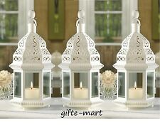"5 White Moroccan 12"" shabby Candle holder lantern lamp wedding table centerpiece"