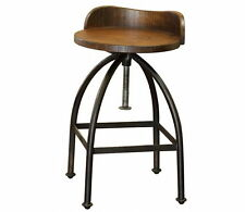 Industrial style Rustic Solid Wood Swivel Stool with back and adjustable height