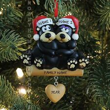 Black Bear Family of 2 Our First Christmas Personalize Christmas Tree Ornament