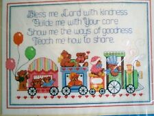 NEW DIMENSION BABY COUNTED CROSS STITCH KIT TEDDY BEAR TRAIN BLESSING