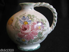 VINTAGE HAND-PAINTED FLORAL POTTERY FLASK ULMER KERAMIC GERMANY c.1950's