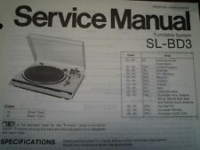 TECHNICS SL-BD3 Turntable Service manual wiring parts diagram