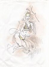 Ink & Pastels Female Belly Dancer Costume Figure Drawing By Miriam Slater