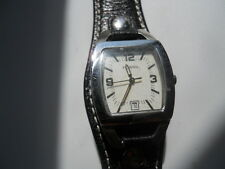 Fossil women's black leather band.quartz,battery & Analog dress used watch..