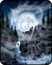 "New 79""x96"" Queen Size Wolf Pack Wolves And Moon Mink Blanket Super Plush Fleece"