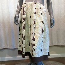 Pendleton Brown Green White Floral Silk Pleated A-line Knee Length Skirt Sz 8 M