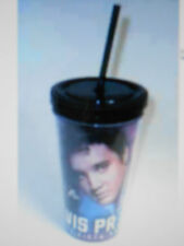 ELVIS PRESLEY 35TH 3 IMAGES ANNIVERSARY PLASTIC CUP WITH LID STRAW NEW