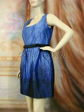 $2005 New ANDREW GN Black Blue Art Print Bow Silk A Line Flared Dress 10 44
