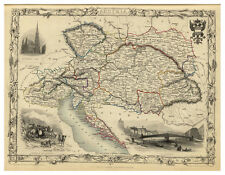 Austria Hungary Bohemia Balkans illustrated map John Tallis ca.1851