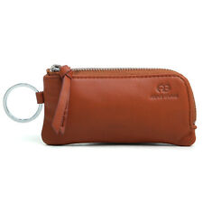 Genuine Leather Multi-functional Case Coin Purse with Key Chain Ring - Brown