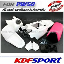 KDF WHITE COVER PINK PLASTIC SEAT TANK PW PY 50 FENDER BIKE FOR YAMAHA PW50 PY50
