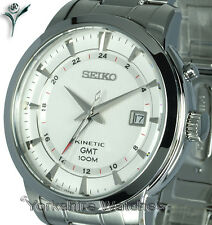 New SEIKO KINETIC GMT WHITE FACE Dual Time & STAINLESS STEEL BRACELET SUN029P1