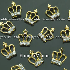 10 Pc 3D Nail Art Gold Crown Alloy Charms Decorations Jewelry Rhinestone #EJ-301