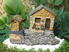 Miniature Dollhouse FAIRY GARDEN Gnome ~ Stone House Cottage with Tool Shed NEW