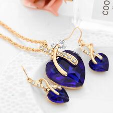 Blue Heart Zircon Crystal Rhinestone Pendant Necklace Earrings Jewelry Sets