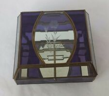 Large Mirrored Jewelry Trinket Box Leaded Divided Compartments Purple Etching