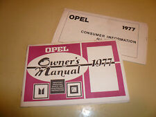 1977 Opel Owner's Manual w/Consumer Information Booklet - Glove Box