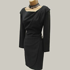 Exquisite Karen Millen Thick Jersey Black Long Sleeve Cocktail Pencil Dress 10UK