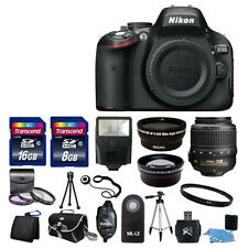 NEW Nikon D5100 Digital SLR Camera w/ 3 Lens Complete DSLR Kit 24GB TOP VALUE!