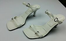 Bandolino womens BD Dancing Heels white leather open toe size 8 M 3 inch heel