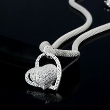 New Fashion 925 Sterling Silver Color Charm Heart Pendant Beautiful Necklace box