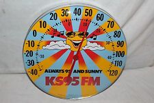 "Vintage KS95FM Radio Station Gas Oil 12"" Metal & Glass Thermometer Sign~Nice"