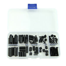 88pcs M3 Nylon Black Screw Nut Assortment Kit Stand-off Plastic Kit New