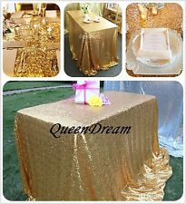 GRAND GOLD 60x102 Rectangle Wedding Table Linen Cloth Fabric SEQUIN TABLECLOTH