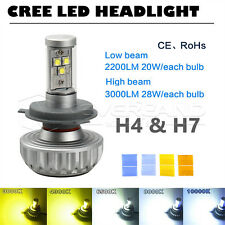CREE H4 H7 LED Headlight Kit Motorcycle Driving Fog Lamp Bulb Hi/Low Beam 3000LM