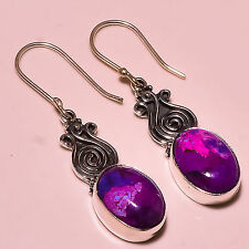 PURPLE TURQUOISE  925 STERLING SILVER EARRINGS 2""