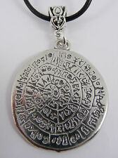 Greek Phaistos Disc Necklace. Pewter Pendant on Leather Cord. Archaeology