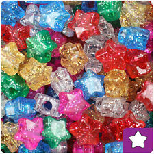 250 Classic Mix Sparkle 13mm Star Pony Beads Made in the USA