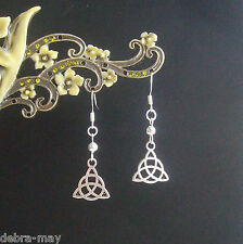 Cute Celtic Trinity Knot Triquetra Short Drop Silver Plated Earrings